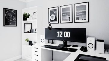 Black and White Cool Modern Computer Desk Setup