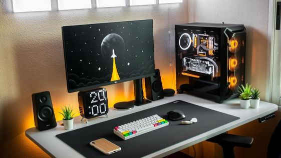 Orange Moonshot Inspired Gaming and Computer Setup