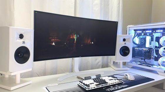 White on White Computer Desktop Setup