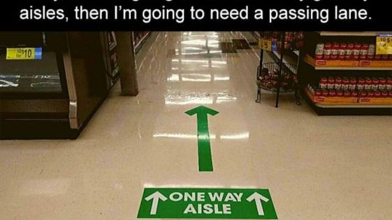 Need a passing lane on one-way grocery isles