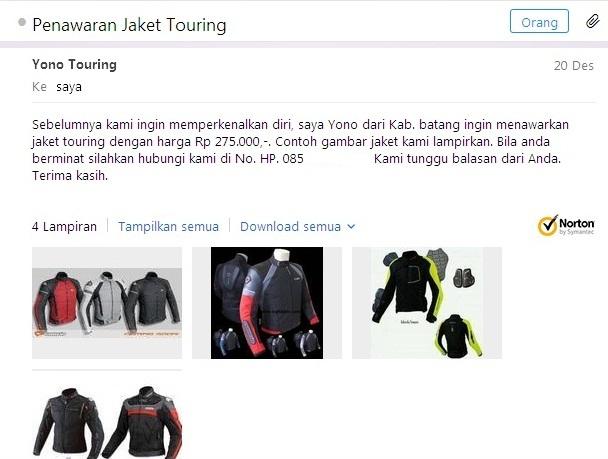 email penjual jaket