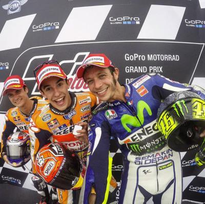 Marquez pedrosa dan rossi motogp jerman 2015
