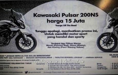 Bajaj Pulsar dijual 15 juta