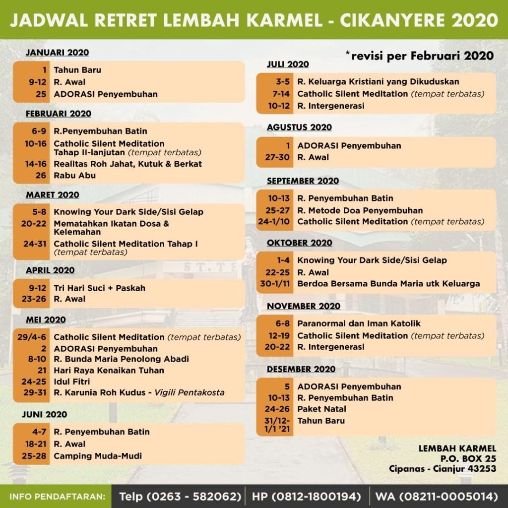 Jadwal Retret lembah Karmel terbaru 2020