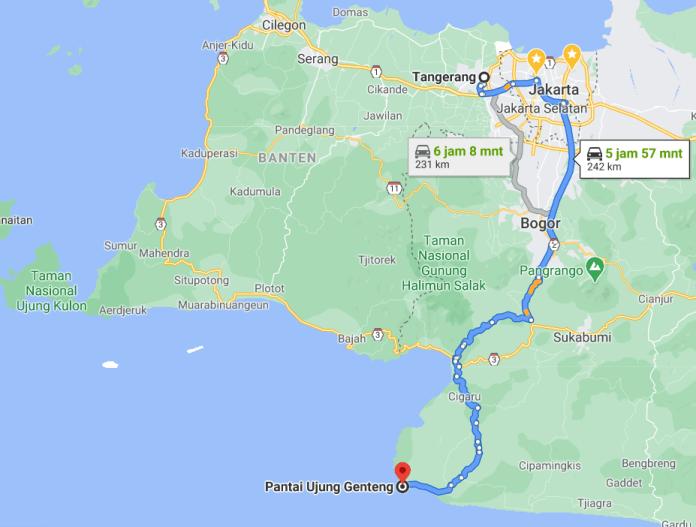 Peta tangerang ke sukabumi