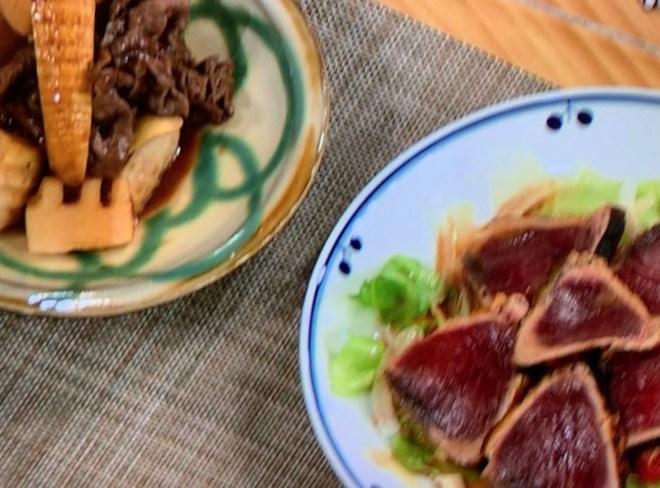 初かつおのたたき風のサラダと竹の子と肉のからみ焼煮