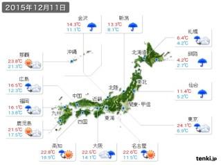 各地で20℃越えだった12月11日