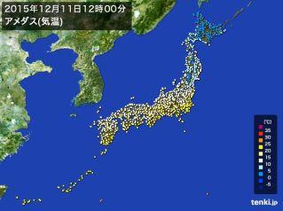 12月11日のアメダス気温図