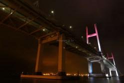 横浜市 レインボーブリッジ ピンクにライトアップ