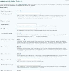 Google Analyticator設定画面