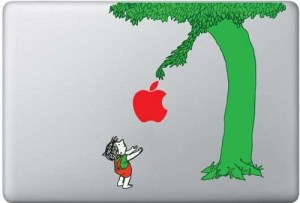 Image of The giving tree giving an Apple Inc. Logo to a boy