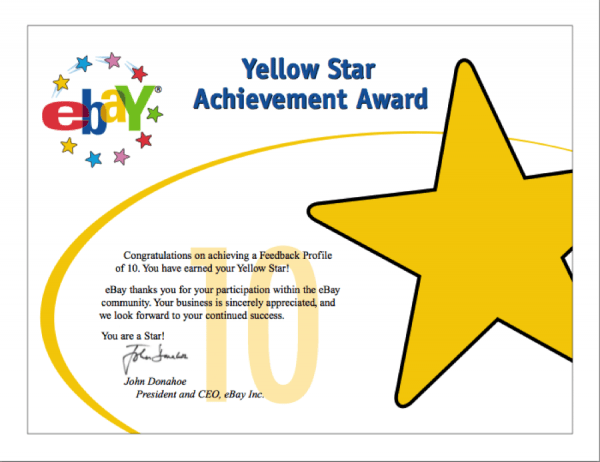 Yellow Star Award from ebay