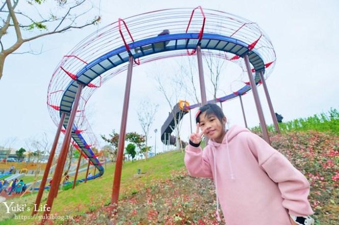 免費桃園親子景點【風禾公園】50公尺滾輪溜滑梯兒童冒險公園×7座溜滑梯加沙坑
