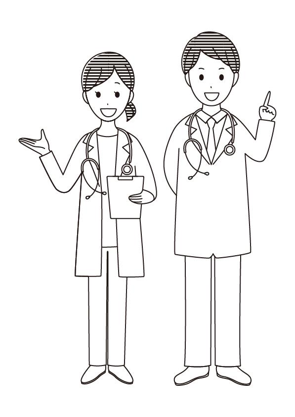 病院 風邪 医者 無料イラスト 教材 イラスト教材