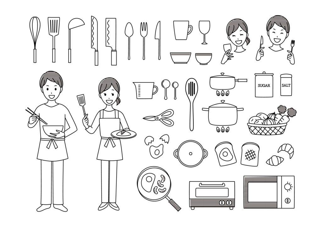 料理 食事 食べる メニュー 無料 イラスト モノクロ 白黒 調理 教材 イラスト教材 食器 調味料
