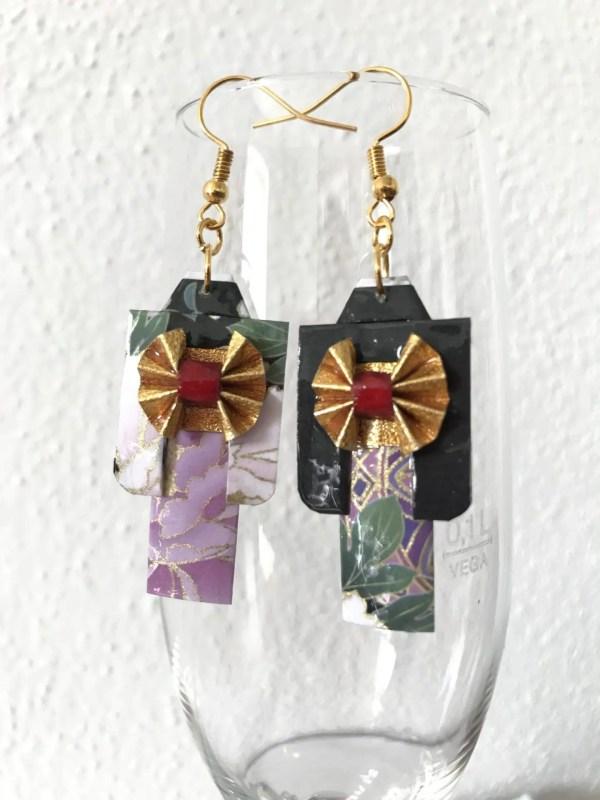 Origami Kimono Style Ohrringe Unikat Handarbeit.Von Japanischer Künstlerin