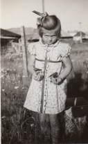 Ione Christensen with two of her little flock. Fort Selkirk, 1940.