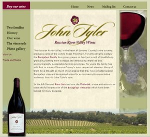 John Tyler Wines web 1.0 website