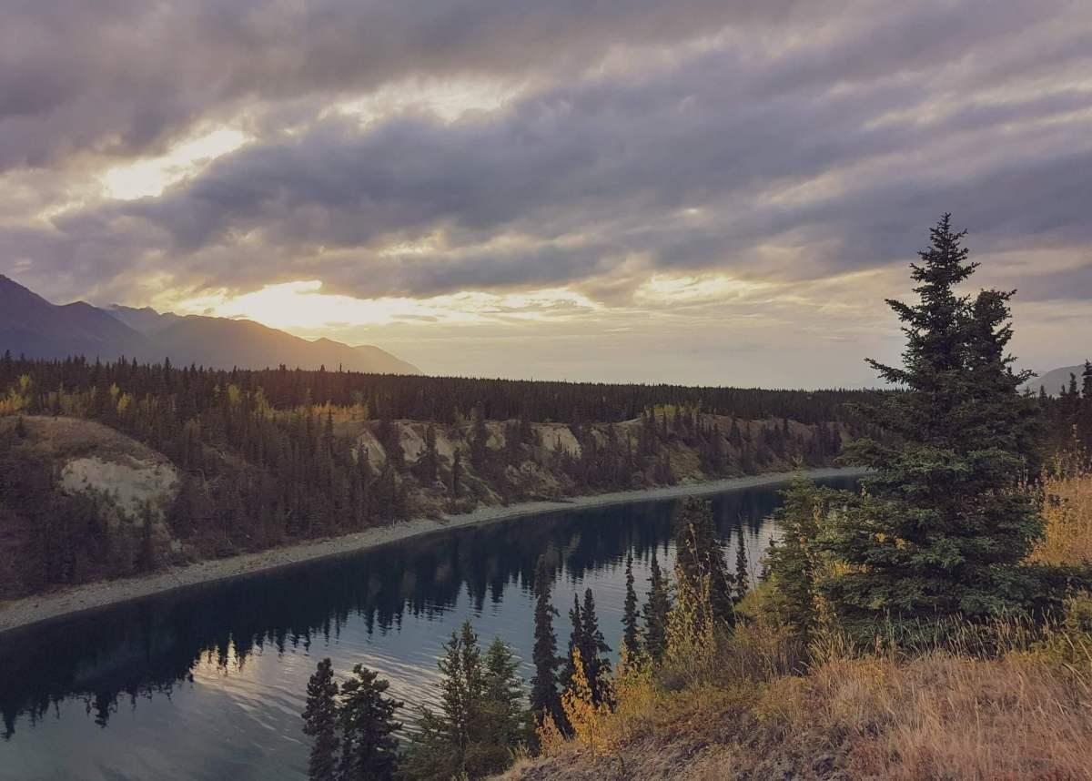 Golden sunset glow over Dutch Harbour at Kluane Lake, Yukon