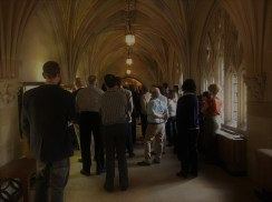 Captivated audience on Olivia's tour of her exhibit