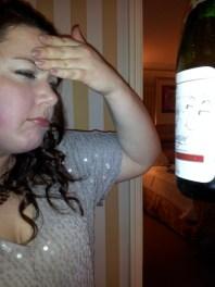 Back inside. Bottle 1, Sarah 0.