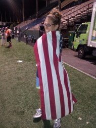 Lisa trying on my flag cape.