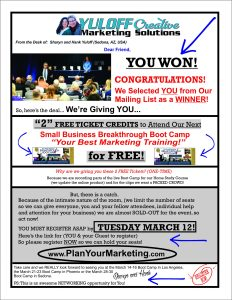 A direct mail piece that Yuloff Creative uses for their Small Business Breakthrough Bootcamp