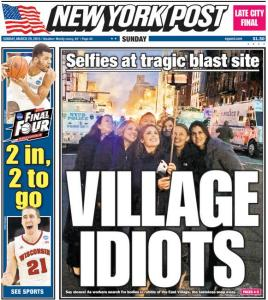 NY Post cover idiots using a selfie stick