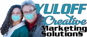 Sharyn and Hank Yuloff in masks acting as if