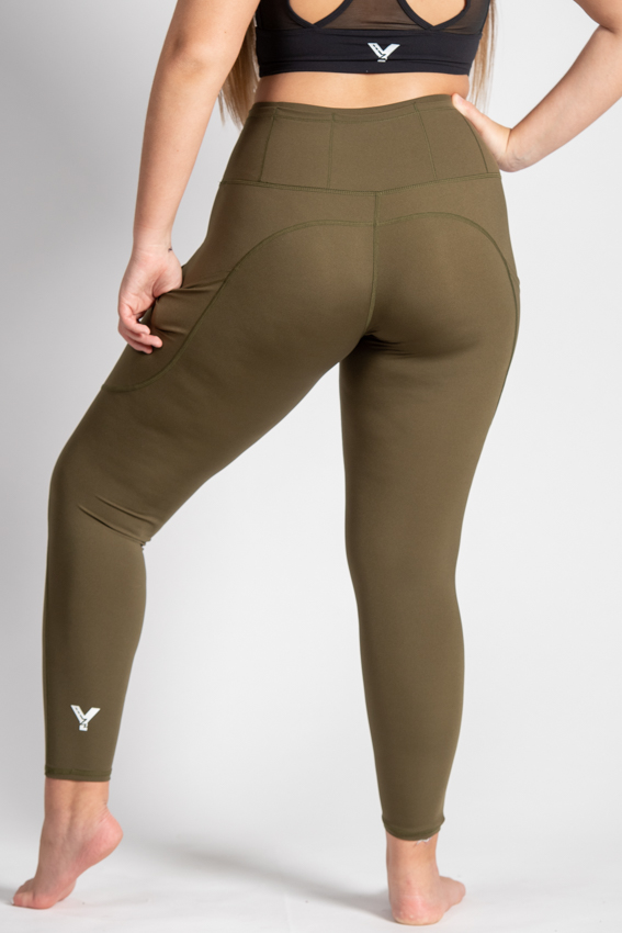 7/8 High-Waist Chilled Legging – Army Green