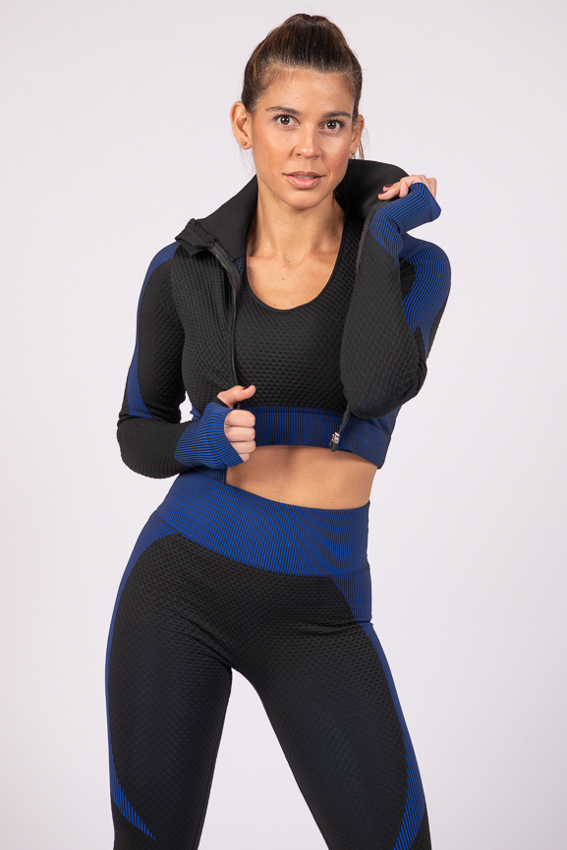 Powerful Crop Jacket – Black/Blue