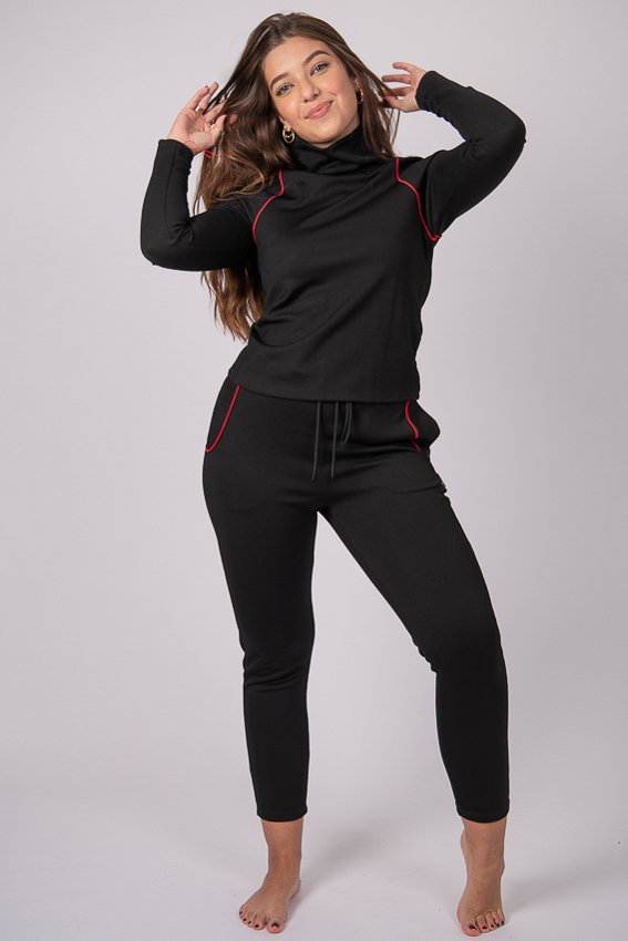 Yuly360 Soul Warmer Turtle Neck Top - Black/Red