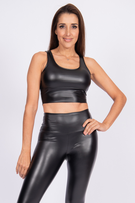 Bold Faux Leather Top – Caviar