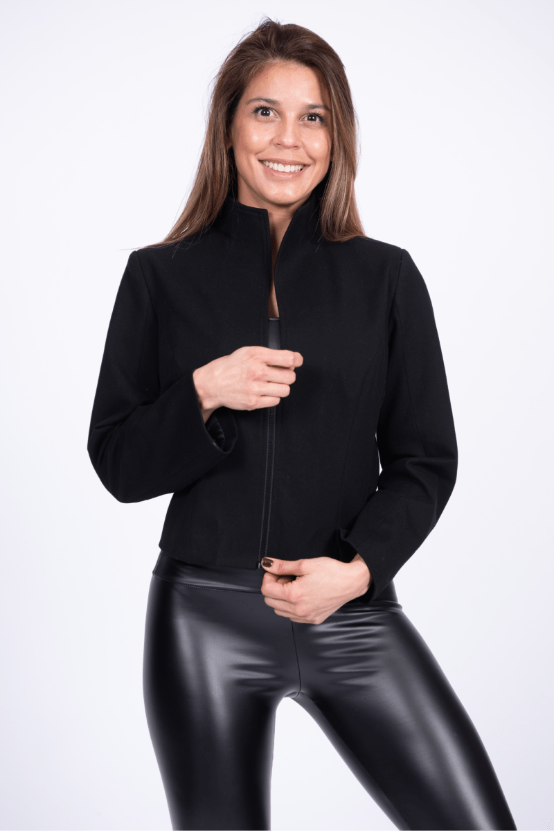 Elevate Ruched-Sleeve Blazer Black