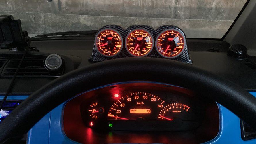 SUBARU R2 オートゲージ製追加メーター取付 水温計 油温計 油圧計