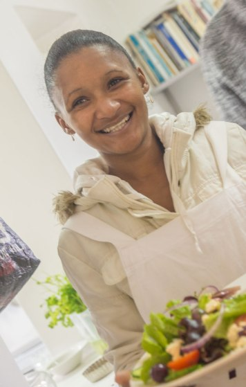Serving the 'Prawn Salad without the prawns' with the YUM-smile