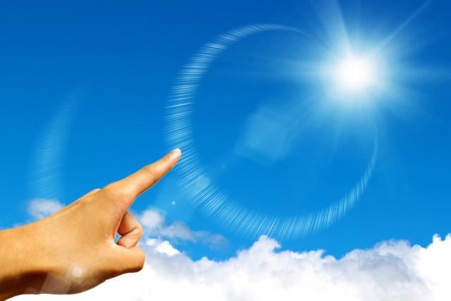 太陽が印象的な風景
