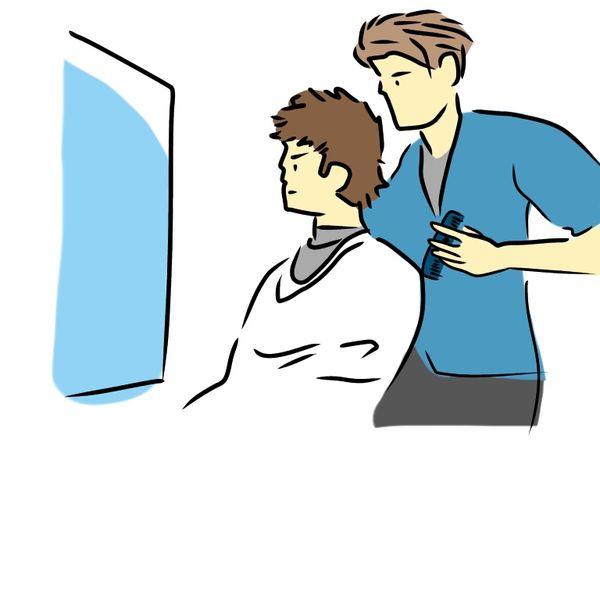 床屋で髪を切る