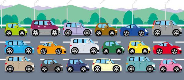 車が渋滞に巻き込まれる