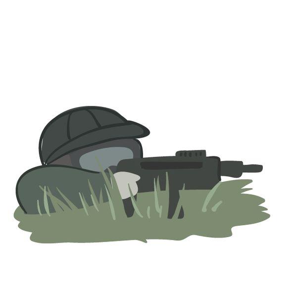 戦争に行って銃で撃たれる