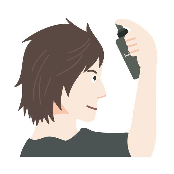髪をセットする