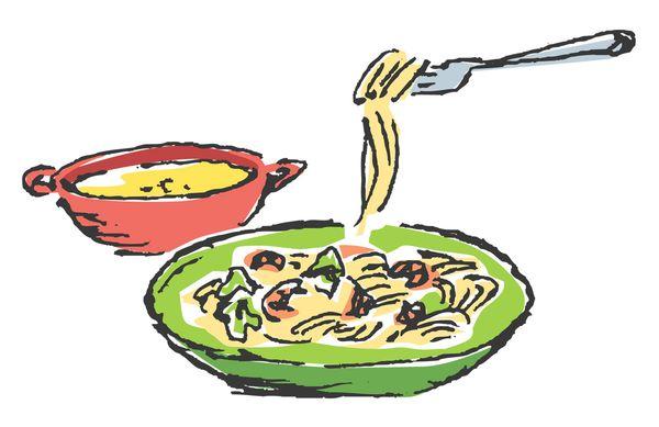 ラーメン、パスタなどの麺類を食べる