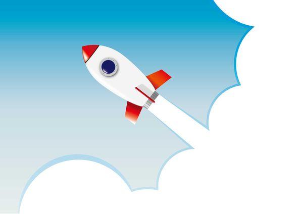 きれいな空にロケットが飛ぶ