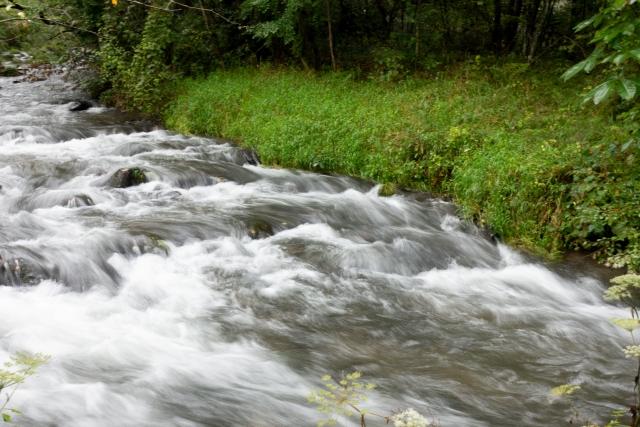 川の流れが激しい