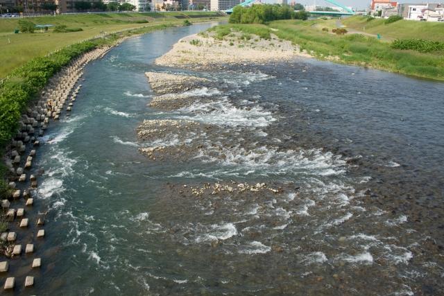 川が曲がりくねっている