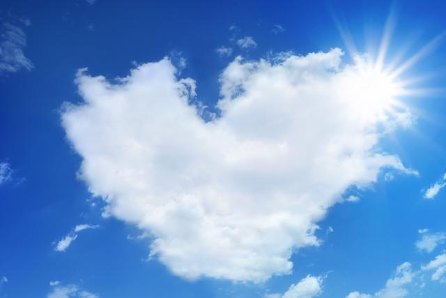 空を見て太陽に雲がかかっている