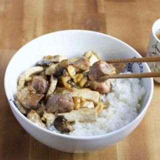 Stir-fried pork with peanuts and-tofu