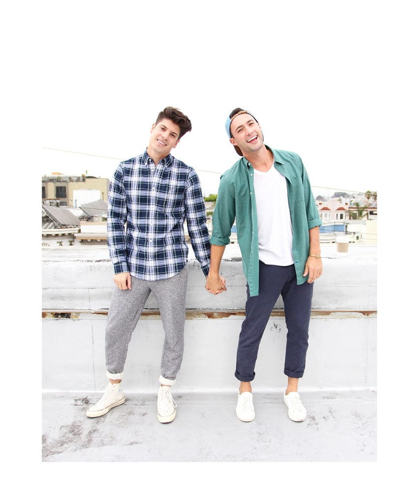 Brock and Chris, of Yummertime, in Gap shirts for fall