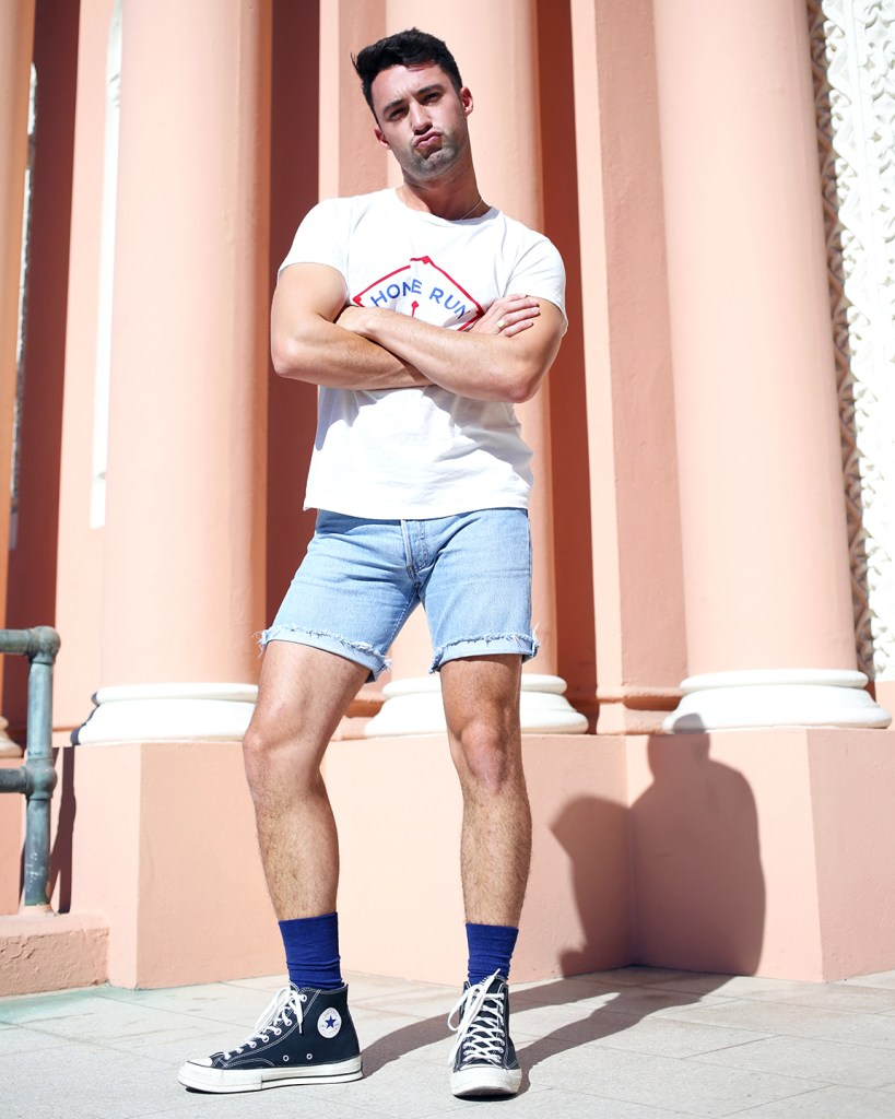 Levis tee and shorts with HUE socks and Converse hi-tops