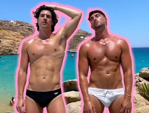 Chris and Brock of Yummertime in Mykonos Greece for their honeymoon vlog on Youtube